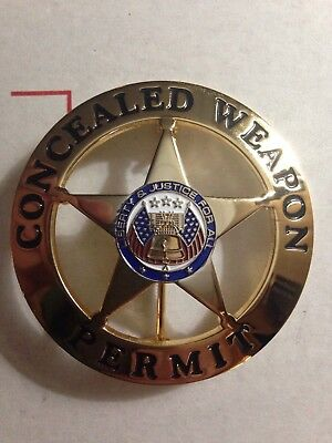"""Concealed Carry Weapons Permit Badge Gold Badge Only 2.25"""" Round Usa Ccw Cwp 9Mm"""