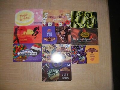 Rocky Mountain Choc Factory and Anchor Blue  10 different new and used cards