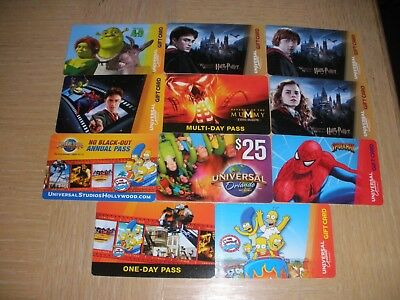 Universal Studios  11 different new collectible gift cards