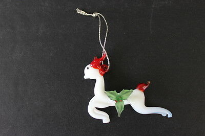 Vintage Hand Blown Glass Miniature Christmas White Reindeer Red Antlers & Tail