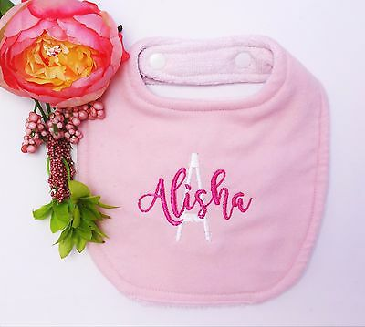 New personalised customised baby bib embroidered - baby pink  - name