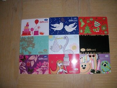 U K Boots  9 different new collectible gift cards