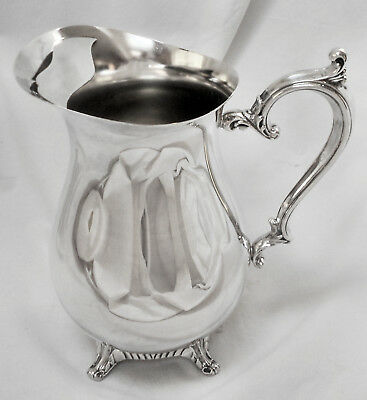 "MOST LOVELY!! Vtg WM ROGERS Tall 9"" Slv Plate Ftd Beverage Pitcher w/Ice Catcher"