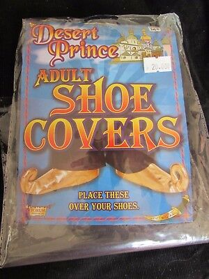 Desert Prince Arabian Adult  Aladdin Shoe Covers Gold Over Shoes  NIP