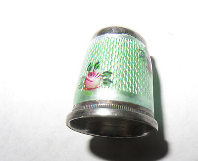 Antique German sterling silver THIMBLE with guillouche enamel