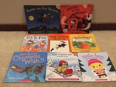 Lot of 8 Children's Kids Halloween Christmas Picture Books Room On The Broom