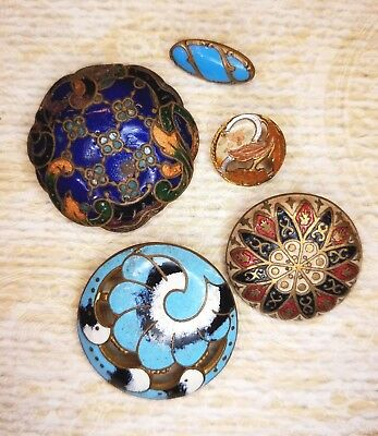 5 Vintage Enamel Buttons Various Sizes And Colors