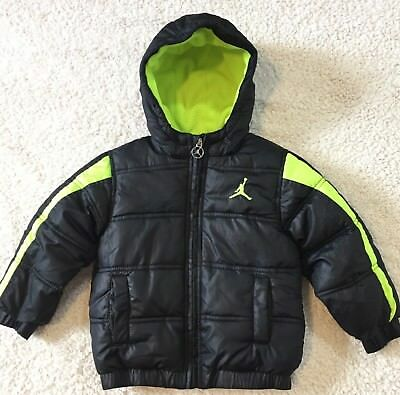 Nike Air Jordan Boys 2T Hooded Winter Puffer Jacket ~ Black, Volt ~ A+ Condition