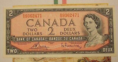1954 BANK OF CANADA $2 TWO DOLLAR NOTE - NICE NOTE - SLIGHT CENTER FOLD lot 3F