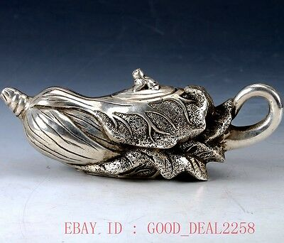 Old-Chinese Silver-copper Hand Carved  Cabbage and frogteapot W Qianlong Mark
