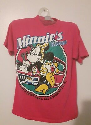 Disney Mickey & Co Vintage 90s Minnie Mouse Pin Up T-Shirt Ladies S Pink