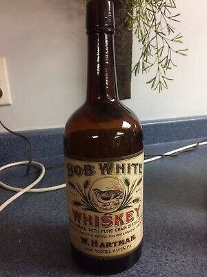 Early Schuylkill Haven Pa Bob White Whiskey W. Hartman Liquor Amber Fifth Bottle