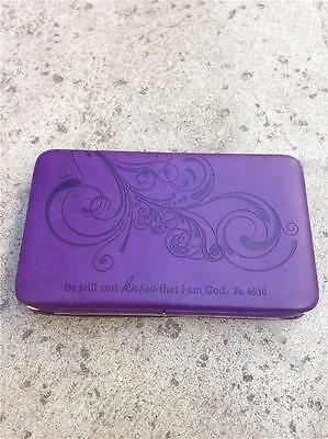 """Christian """"Be Still and Know That I Am God"""" Purple Checkbook / Wallet"""
