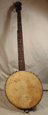 Antique Hollow Back Metal Sided Banjo w/ Wooden Pegs MOP Inlay Unknown Maker