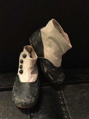 Antique Victorian Baby Button Up Shoes Boots For Doll Or Child  Two Tone Leather