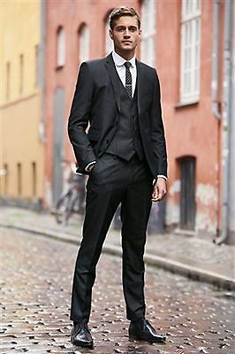 3 Piece Peak Lapel Tuxedos For Mens Wedding Custom Made Groom Groosmen Prom Suit