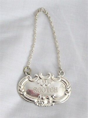 Scotch Whiskey Label In Sterling With .925 Hanging Chain -W- Makers Mark