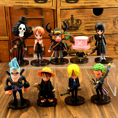 US One Piece Anime Strong World Monkey d luffy 9PCS Topper Figure Doll Set