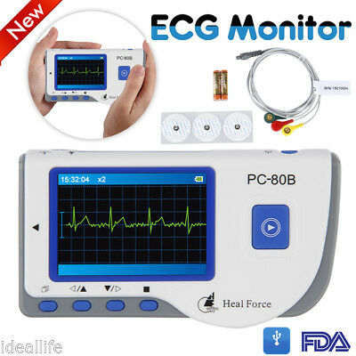 LCD Heal Force ECG EKG Heart Monitor Portable Handheld Lead Cable+50 Electrodes