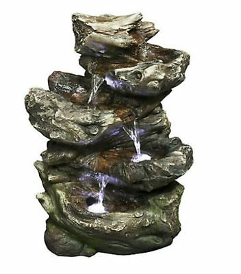 Indoor Relaxation Fountain, 4 Level Log Waterfall with LED lights, 14 Inch
