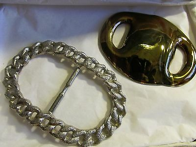 VINTAGE LOT 2  ANTIQUE 50s DRESS BUCKLE SCARF SLIDE CLIP COSTUME JEWELRY