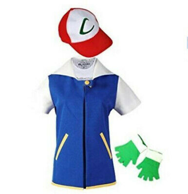 Pokemon Ash Ketchum Jacket+Gloves+Hat Trainer Costume Hallowee Cosplay Shirt US