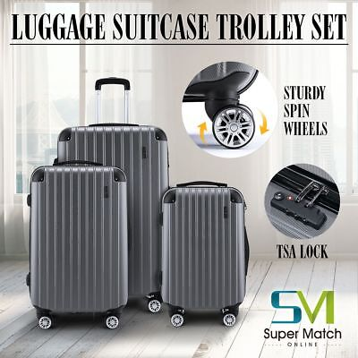3Pcs ABS Luggage Travel Set Bag Trolley Spinner Carry Suitcase w/TSA Lock Grey