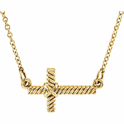 """8.65 x 16 mm Sideways Rope Cross Design 16.5"""" Chain Necklace in 14K. Solid Gold"""