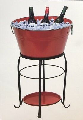 Red Outdoor Ice Bucket Beverage Cooler With Stand Patio Balcony