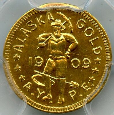 1909 AK AYPE Gold 1 DWT.  Hart's Coins of the West HK-360. PCGS MS63.