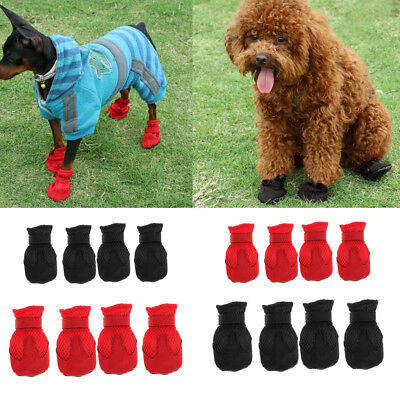 4Pcs Pet Dog Boots Puppy Shoes Breathable Mesh 2 Colors For Small Medium Dogs