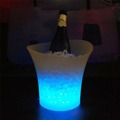 5L Plastic Blue Led Light Ice Bucket Holder For Bar Champagne Beer Party Groovy