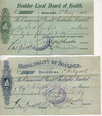WESTERN AUSTRALIA - 4 Vintage Cheques in excellent condition - OVER 100 YRS OLD!