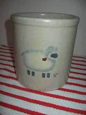 Robinson Ransbottom 2qt High Utensil Jar Number 20 w Blue Sheep & Red Heart LA87