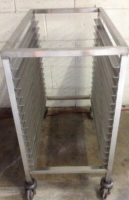 Commercial Stainless MOBILE 15 Bay Caterers Bakers Rack Low Line 390 X 745mm