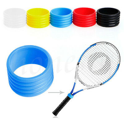 5pcs Stretchy Racket Handle's Rubber Ring Tennis Racquet Band Overgrip Protector