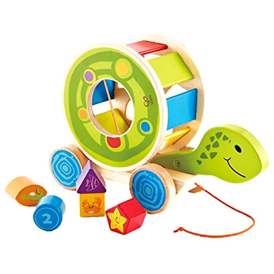 Shape Sorter Pull Turtle Toy Hape Wooden Educational Nontoxic Material Ages 1 Up