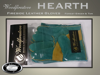 HEARTH FIREPLACE ACCESSORIES Fireplace LEATHER GLOVES  / Fire Resistant  For/Tan