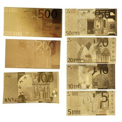 1 Set of Gold Foil Euros Banknote Arts Gifts Gedenkmünzen €500/200/100/50/20/10