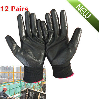 12 Pairs Nylon PU Safety Work Gloves Builders Grip Palm Coating Glove Worker Use