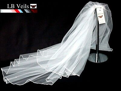 Ivory Cream White Veil Short Shoulder 2 Tier Crystal Edge Wedding Bridal LBV145