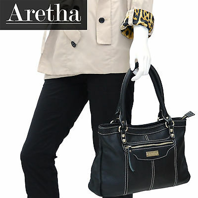 Aretha genuine cow leather womens small totes bags ladies satchel handbag black