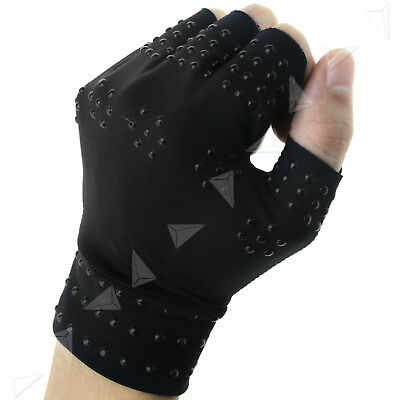 Pair Arthritis Pressure Magnetic Pain Relief Joint Therapy Support Gloves Black