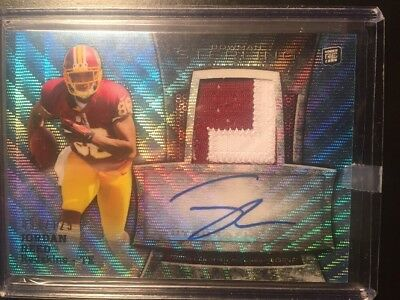 2013 Bowman Sterling Blue Wave Refractor Patch Auto Jordan Reed Rc # /125