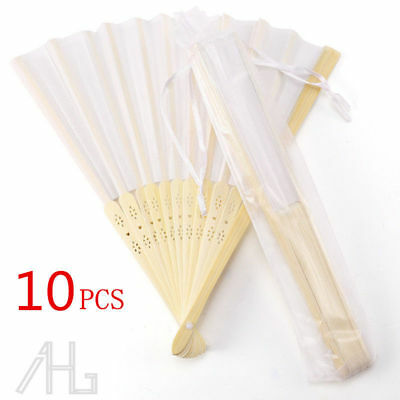 10x Portable Folding White Silk Bamboo Hand Fan Wedding Favours with Gift Bag