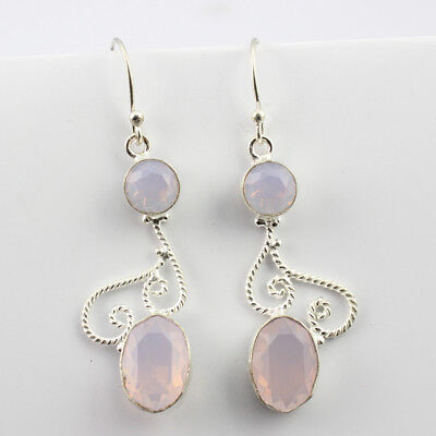 Rose Quartz  Fashion Jewelry .925 Silver Plated Earrings  S16554