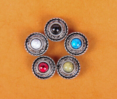 5X 12Mm  5 Colors Turquoise Vantage Sliver Leathercraft Conchos Rivet Screwback