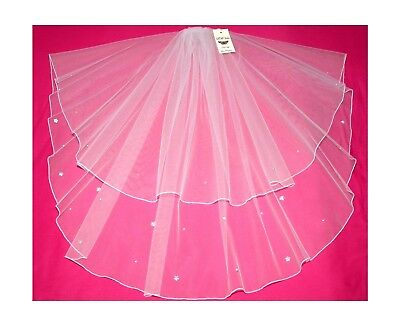 2 Tier Veil Crystal Diamante Flowers Any Colour Any Length Wedding Bridal LBV36s