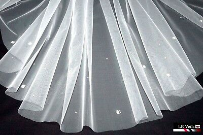1 Tier Veil Crystal Diamante Flowers Any Colour Any Length Wedding Bridal LBV37s