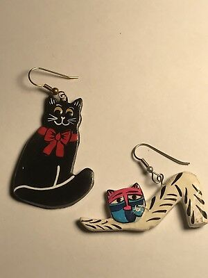 Hand Painted Wooden Cat Earrings
